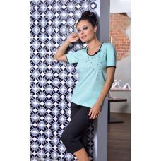 Sofia pyjama met broek turquoise